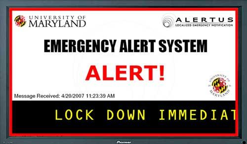 school digital signage emergency message