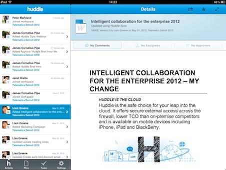 Huddle app for ipad