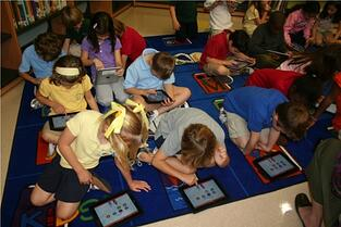 children using technology in the classroom