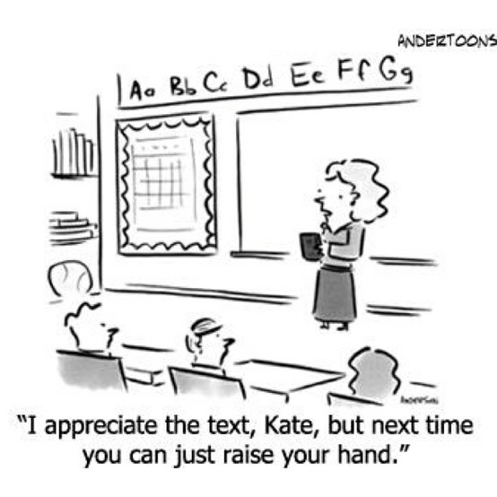 I appreciate your text but next time raise your hand cartoon for byod
