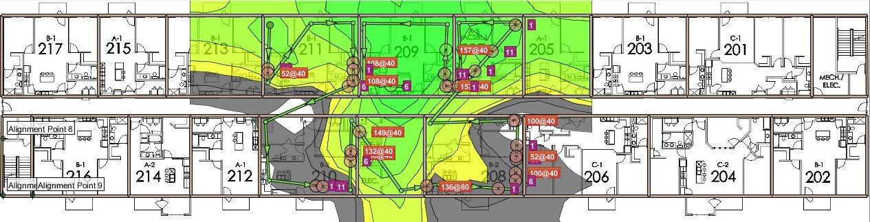 2.4GHz wifi coverage heat map example
