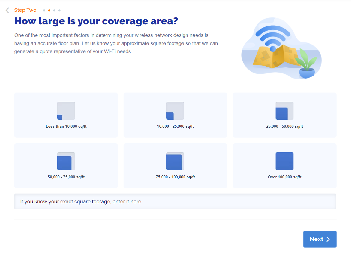 WiFi as a Service Quoting Tool Step 2 Coverage area