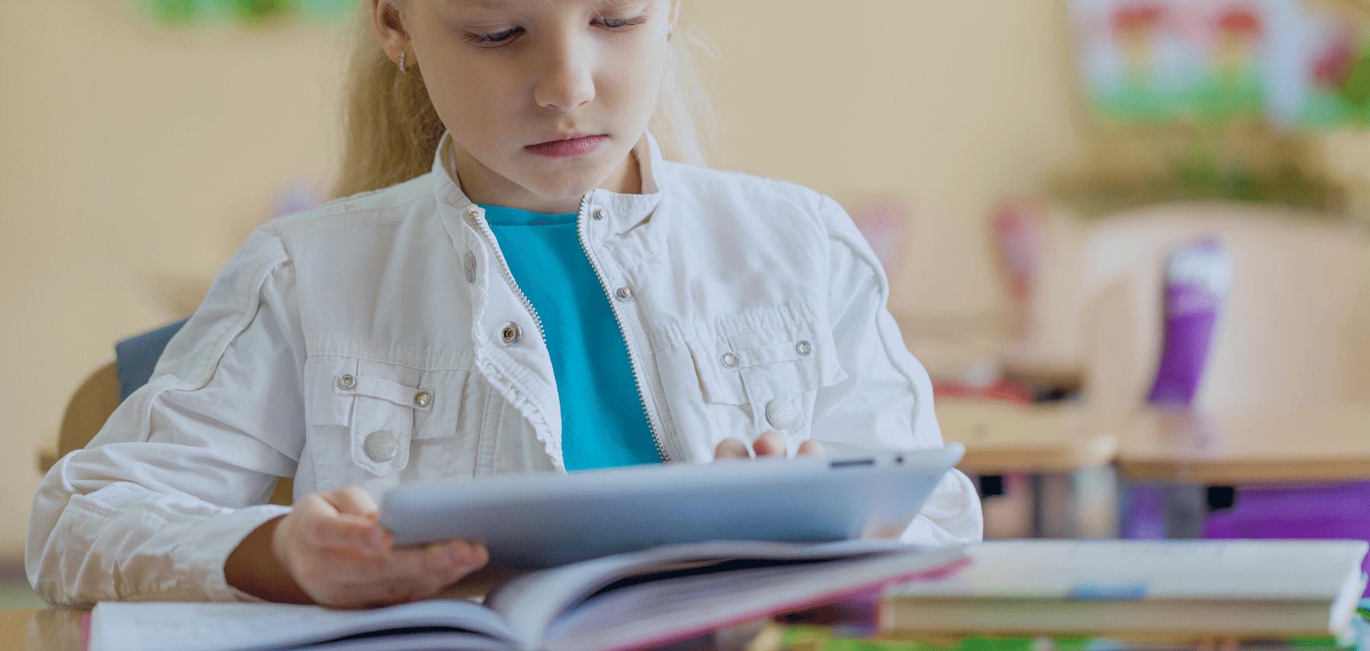 student in k12 using an iPad in school-2